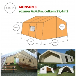 Monsun 1, velkoprostorový stan/hangár - 4 x 4,2 m
